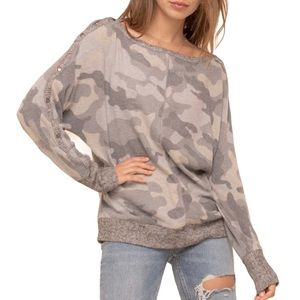 Hem & Thread Camo Boatneck Top